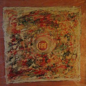 Fiat fine 800 inizio 900 50X50 antico Stemma Fiat, PVC Smalti Telaio in legno1996