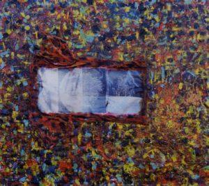 Verso il 2000  120X100 T shirt Smalti resine silicone su tela 1995